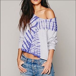 NWOT Free People Sundown Tie-Dye Dolman Crop Top